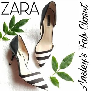 Zara dorsay striped heels size 9 eu 40